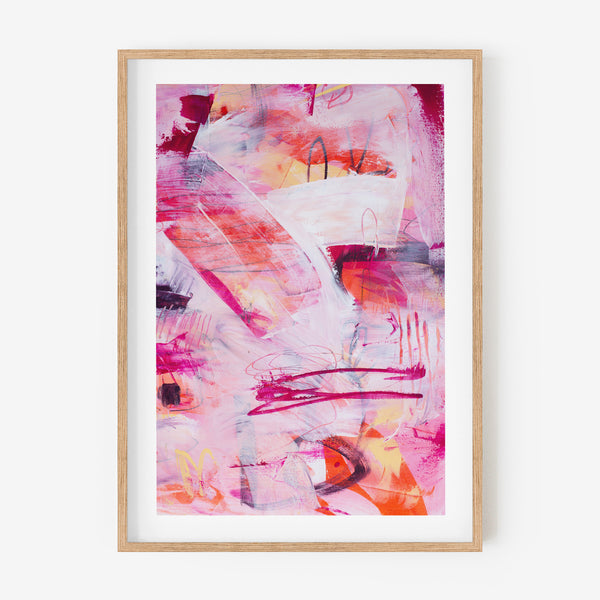 Framed abstract art print in oak - printed in Australia