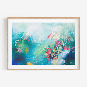 SEARCHING FOR STARS- Original Art Abstract Acrylic Painting Blue,Green,Pink