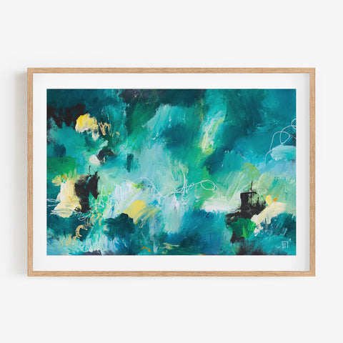 SOUNDS OF EXULTATION - Original Art Abstract Acrylic Painting Blue,Green