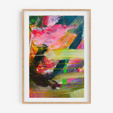 Colourful abstract art print wild eyed in an oak frame