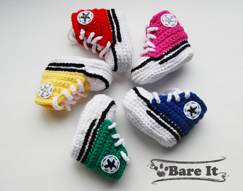 Red, Pink, Blue, Green, Yellow sample of Crochet Baby Converse Sneakers Booties By Bare It Designs Ltd.