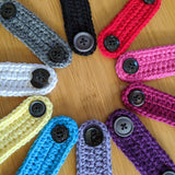 Colorful Sample of Crochet Mask Mates Ear Saver Strap Style With Plastic Buttons By Bare It Designs
