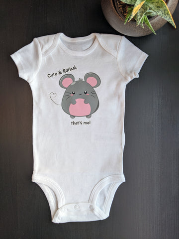 Cute & Ratical That's Me! 2020 Year of the Rat Baby Bodysuit - Designed and printed by Bare It Designs in Edmonton, AB, Canada. Size of bodysuit pictured is 6 month.