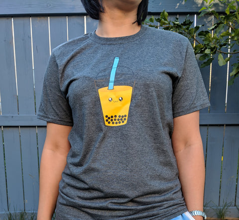 Adult Heathered Grey Tshirt With A Large Bubble (Boba) Tea Drink Design - Bare It Designs Ltd.