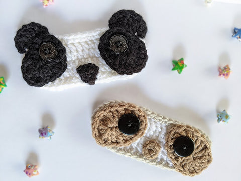 Cute crochet panda and sloth face themed ear savers/extenders for face masks - Bare It Designs