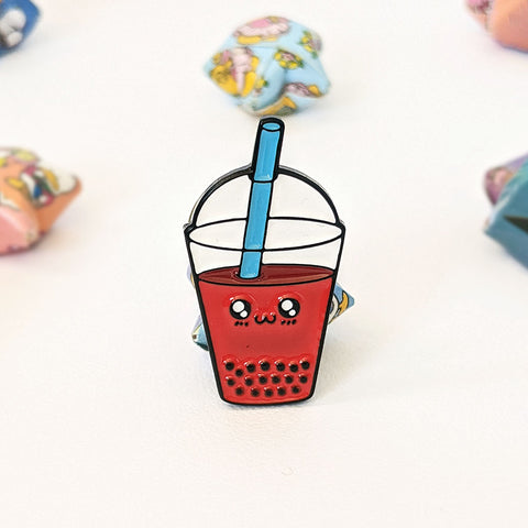 Cute kawaii strawberry bubble tea enamel pin by Bare It Designs