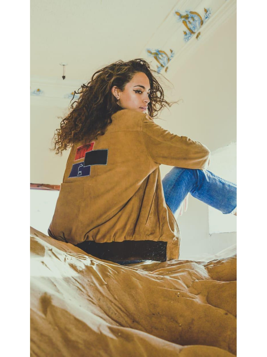 Tan Suede Patchwork Jacket Women's