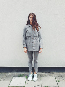 Check skinny suit trouser with ankle cut away detailing, high waisted and made from cotton. Designed & made in the UK by sustainable clothing brand Fanfare Label  Edit alt text