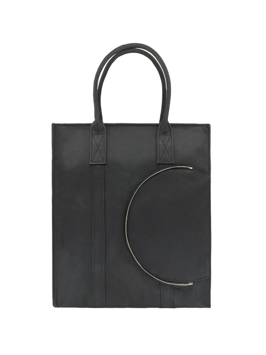 Large black canvas tote bag handbag