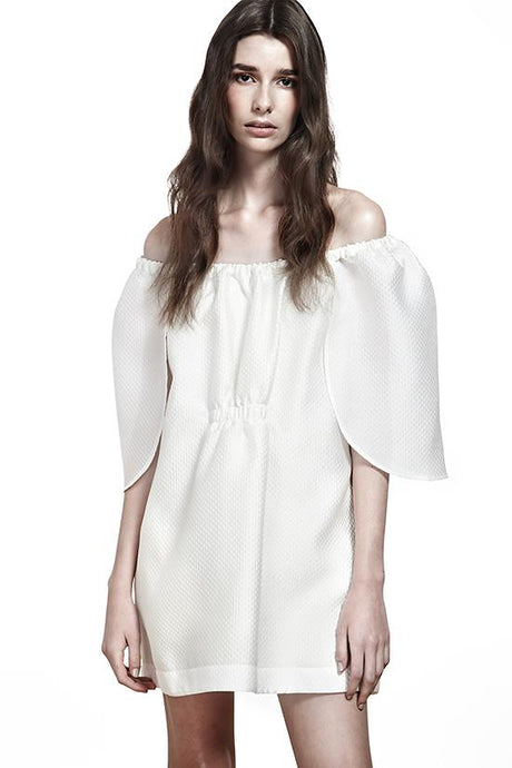 PAPILLON OFF-SHOULDER WHITE DRESS