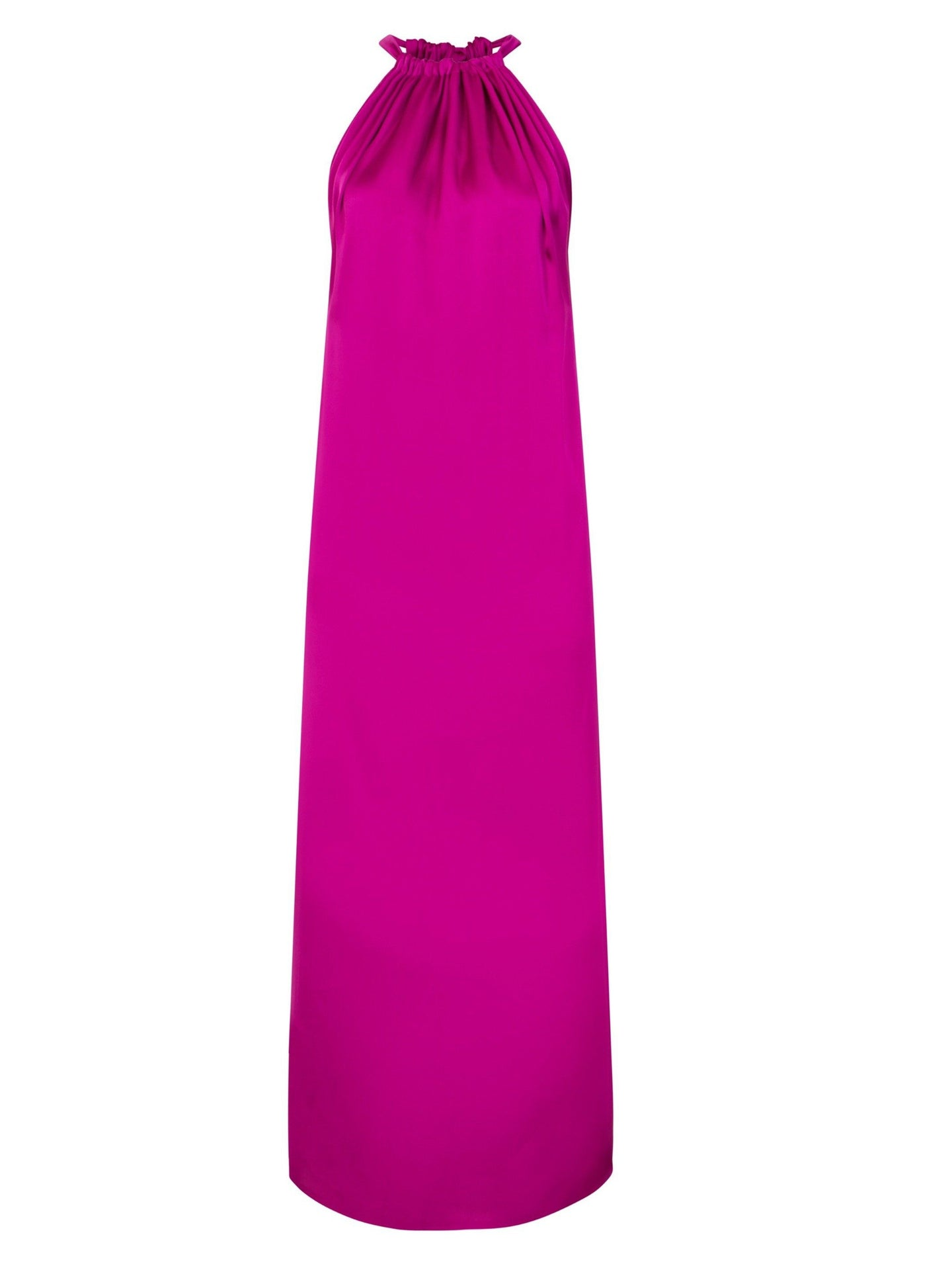 Satin maxi dress in magenta
