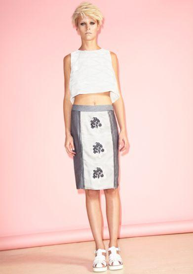 SILK JACQUARD SKIRT WITH MOTIFS