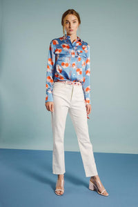 Ace shirt - Blue leopard flower