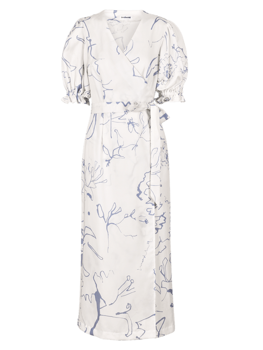 White Printed Wrap Maxi Dress