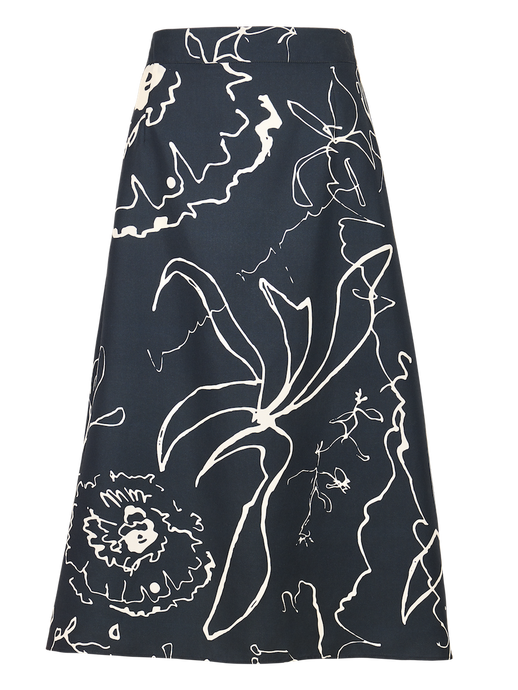 Navy Blue Printed Midi Skirt
