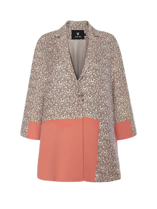 French Tweed Lapel A-line Jacket in Beige