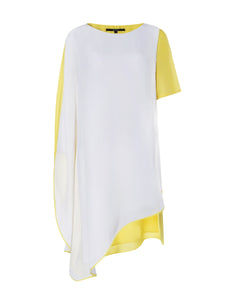Two-tone Draped Tunic Dress in White/Yellow