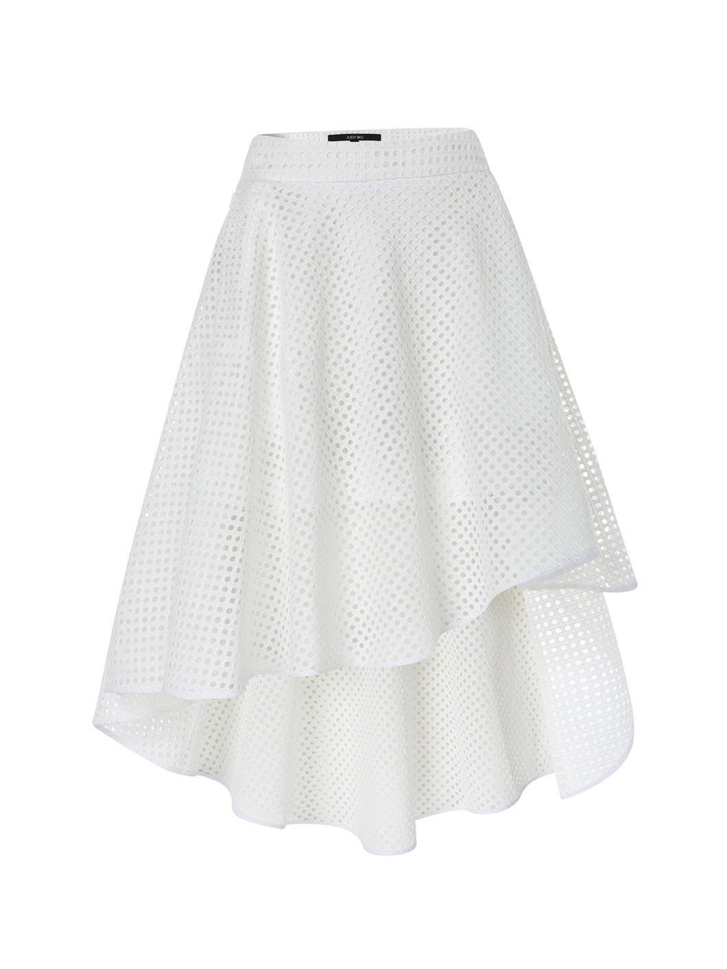 Broderie Anglaise Mini High Low Skirt in White