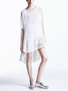 model in broderie anglaise look