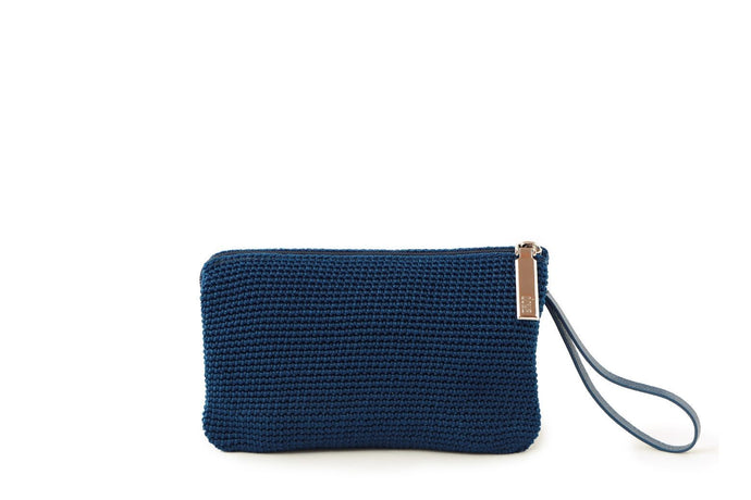 Blue handmade, crochet accessories with blue leather wrist strap and silver zipper with dowa branding