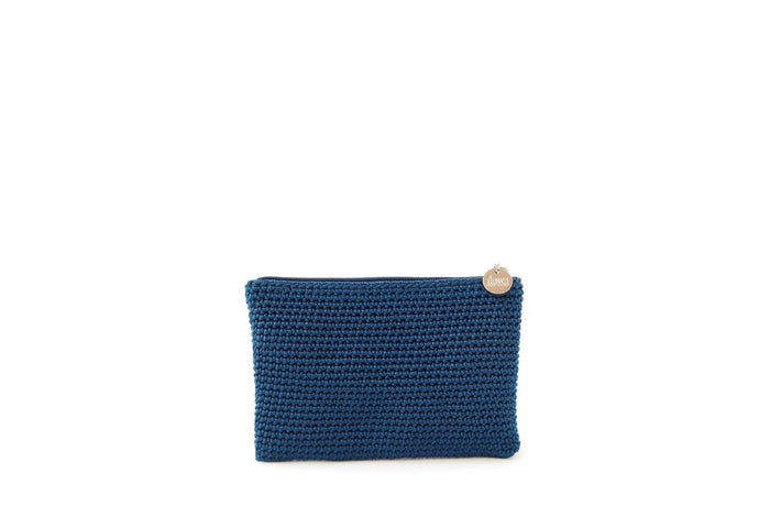 Blue full crochet purse with silver zipper and circle shaped silver charm with Dowa branding