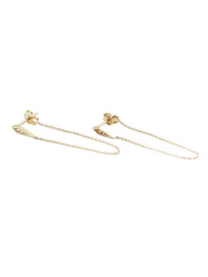 Kite Chain Studs in Solid 14k Gold