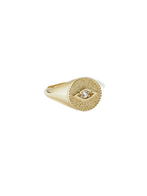 Protecting Eye Pinkie Ring in Solid 14k Gold