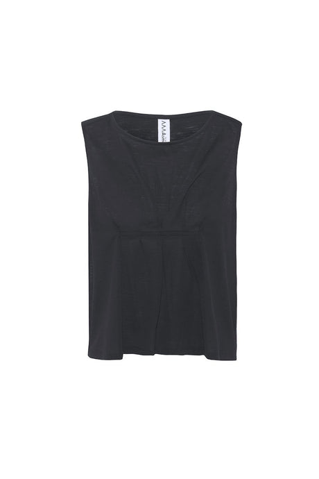 Asmuss Pleated Tank in black.  Contains 37.5 technology to help keep your ideal body temperature so it is perfect for travelling with or hot days in the office or studio