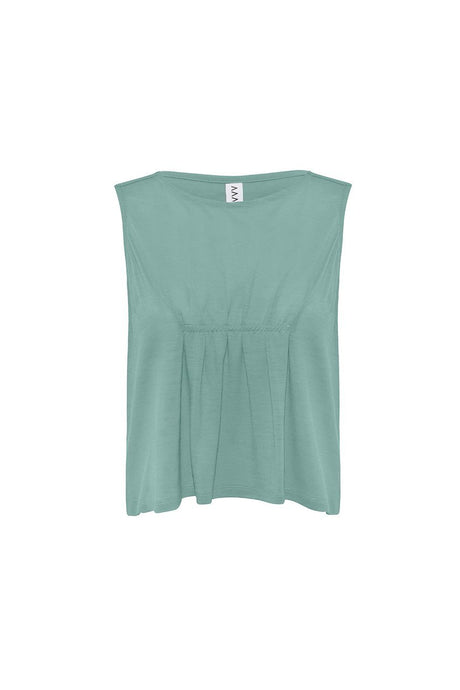 Asmuss Pleated Tank in sea green.  Contains 37.5 technology to help keep your ideal body temperature so it is perfect for travelling with