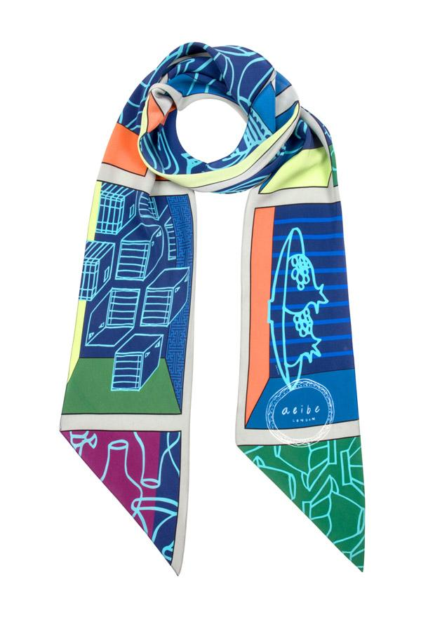 Heritage ceramic silk scarf - Blue