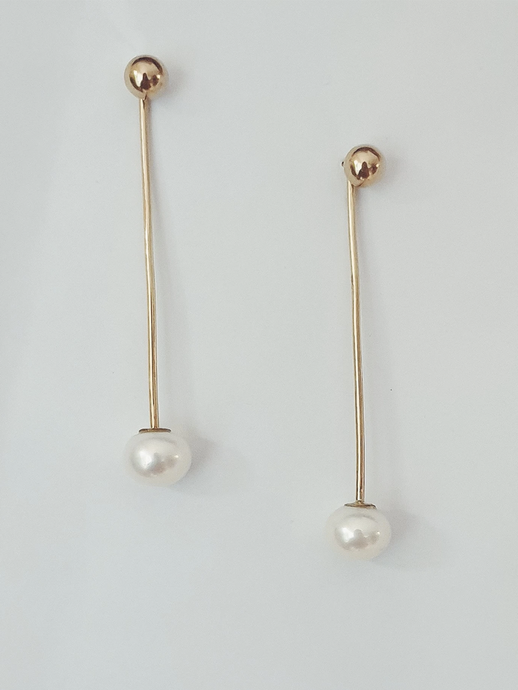 Straight White Pearl Ear Jacket in 9ct Gold