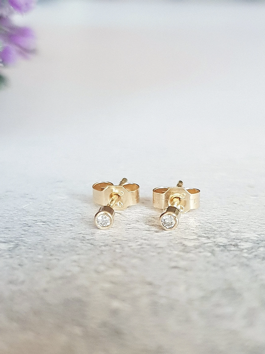 Tiny Sapphire Studs in 9ct Gold