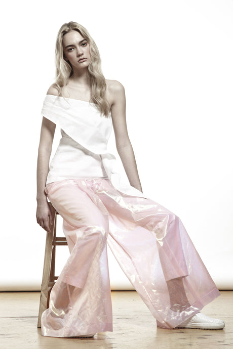 PINK METALLIC TROUSERS