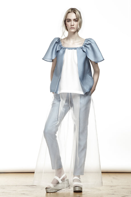 WHITE ORGANZA FLARE TROUSERS