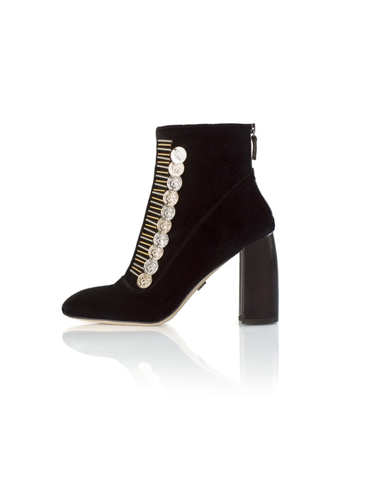 Traviata Bootie in black with gold and silver accessory