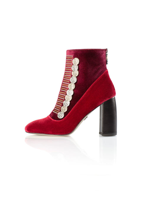 Traviata Bootie Red Bordeaux with gold and silver accessory
