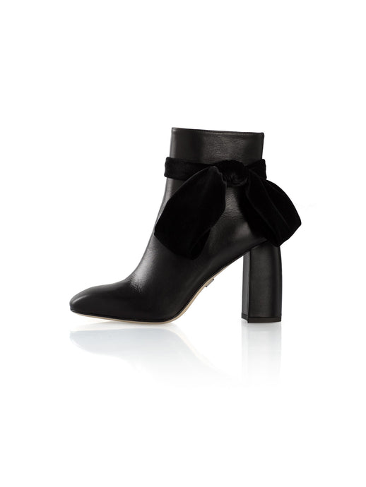 Flora Bootie in Black Nappa Leather with Velvet Bow