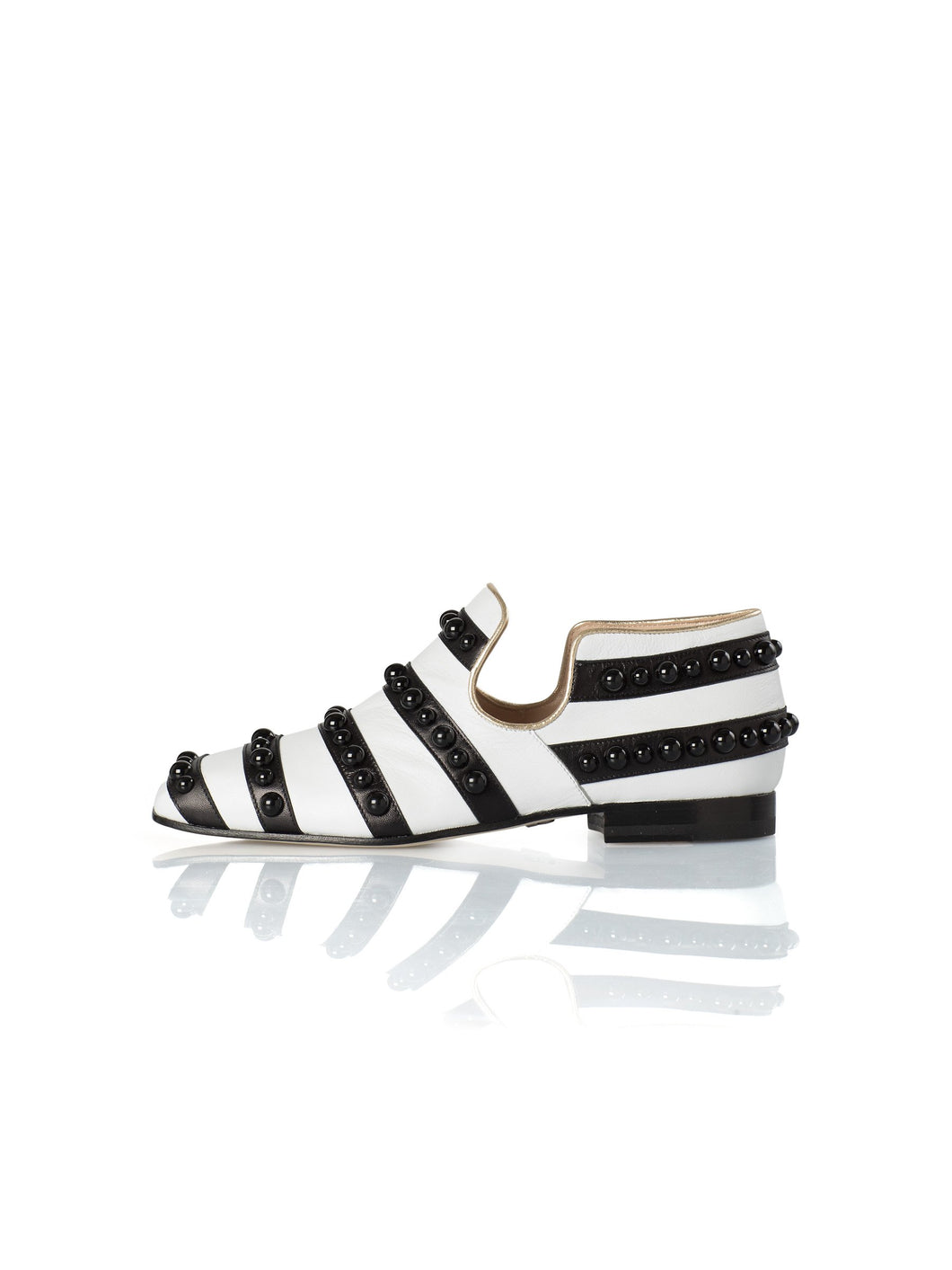 Iris Studs Flat in Black & White stripes & studs