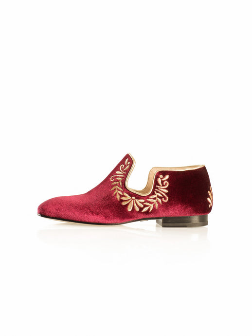 Iris Flat in Red Velvet & Gold Embroidery