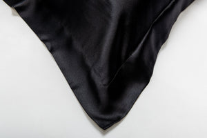 oxford silk pillowcase - black