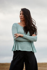 A-Line Long Sleeve T-shirt in Sea Green