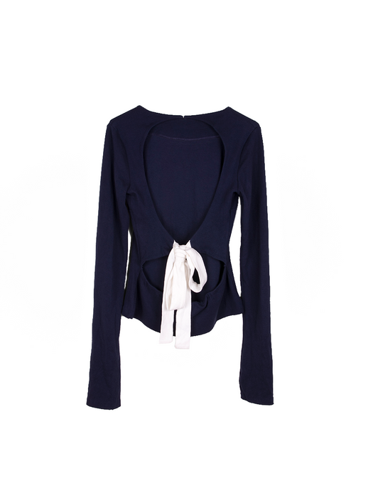Organic cotton backless navy long sleeved jumper with white tie bow at the back. Fanfare Label Sustainable Clothing  Edit alt text