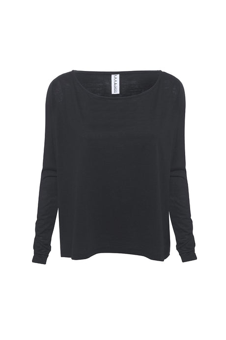 Front view of Asmuss A-line Long Sleeve T-shirt in Black.  Perfect sustainable travel clothing