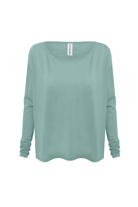 Front view of Asmuss Long Sleeve Aline Tshirt in Sea Green. Soft wool blended with 37.5 Technology to help regulate your body temperature