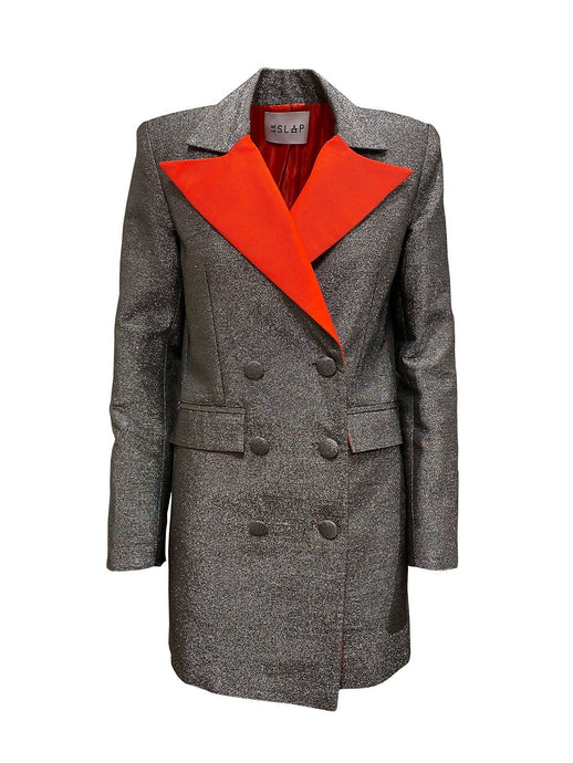 Le SLAP City Metallic Dress/Jacket with Contrast Lapels