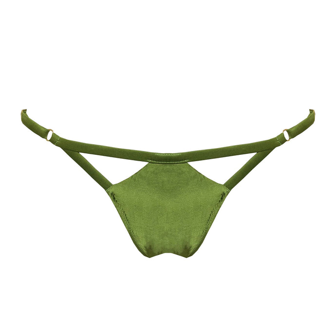 Women's silk satin thong with statement hardware in green.