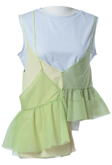 Layered Sleeveless Top in Green
