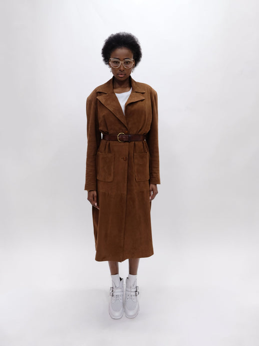 The Letter Brown Suede Coat - LDC