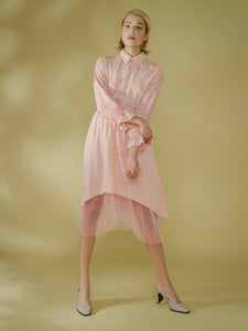 Edward Mongzar Silk & Tulle Hand Marbled Button Up Dress in Pink