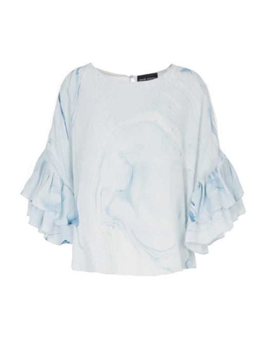 Edward Mongzar Silk Hand Marble Dyed Ruffle Flounce Blouse Top White Blue
